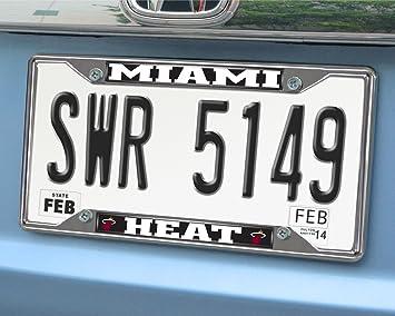 Amazon.com: FANMATS 14862 NBA Miami Heat Chrome License Plate ...