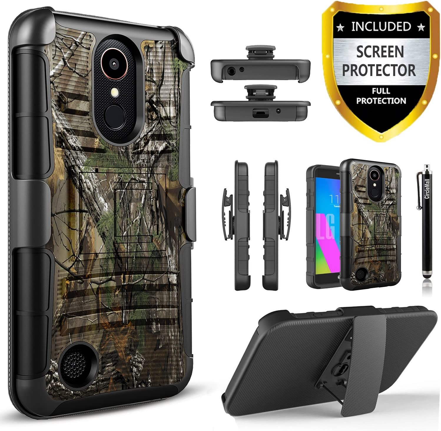 LG Aristo 2/Aristo 3/Aristo 2 Plus/Tribute Empire/Tribute Dynasty/Rebel 3/Rebel 4 LTE/Fortune 2/Phoenix 4/Risio 3/Zone 4 Phone Case,with [Premium Screen Protector] Built in Kickstand Holster-Camo