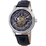 Akribos Automatic Skeleton Mechanical Men's Watch - Unique Arc Reverse Hands Time Reading On Skeletonized Dial with…