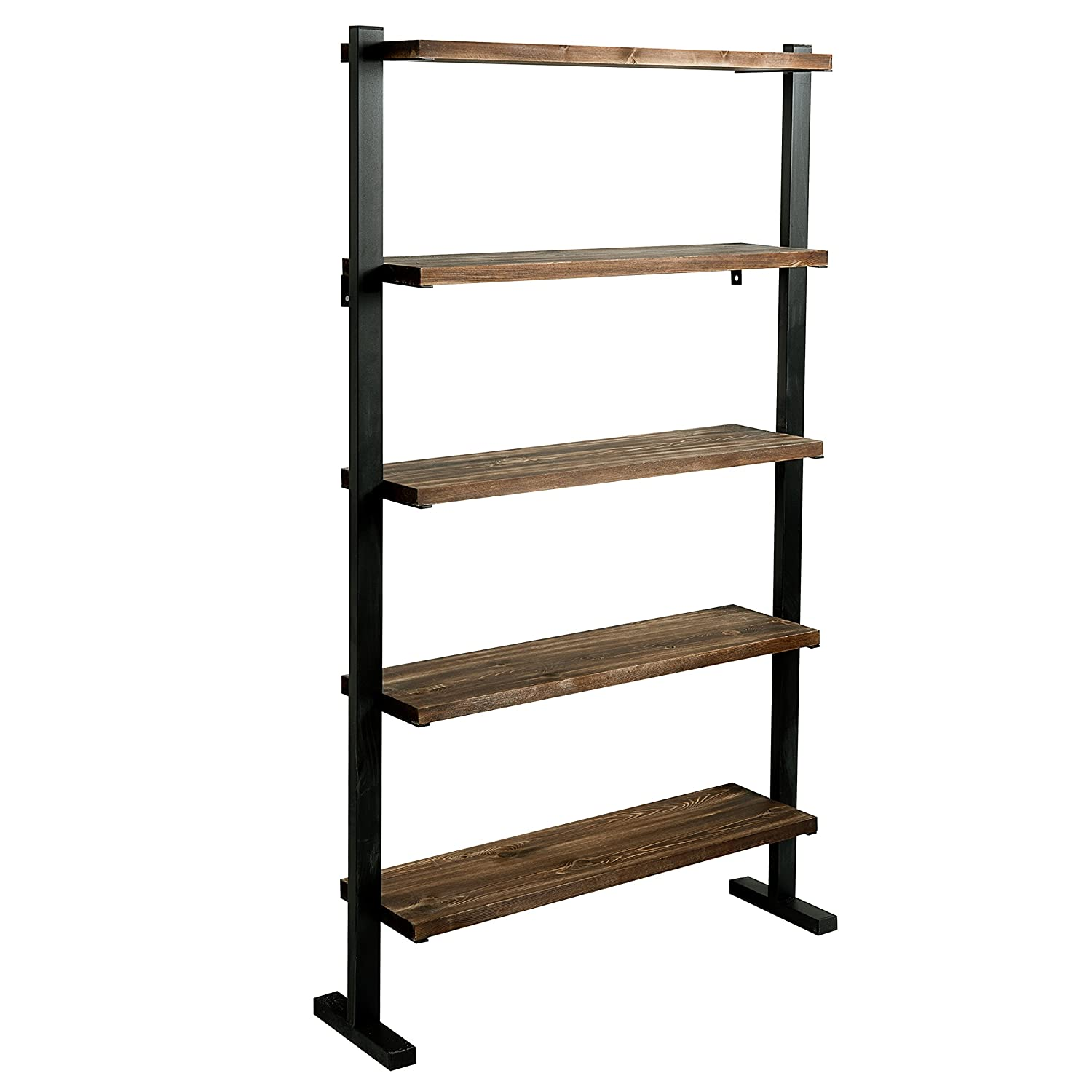 MyGift 5-Shelf Industrial Metal Wood Bookcase