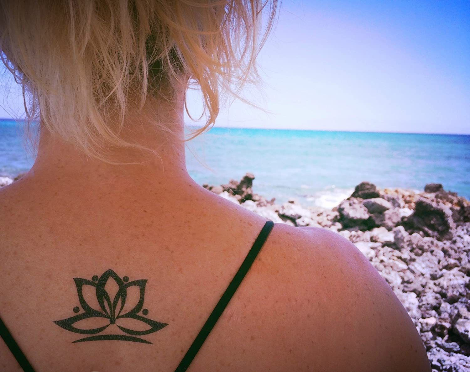 Amazon Lotus Flower Temporary Tattoo Realistic Body Art