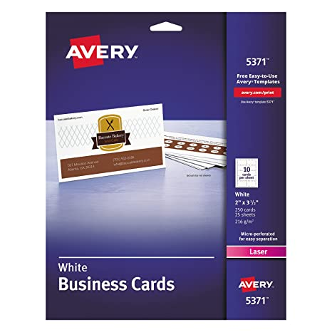 Amazon avery 5371 printable microperf business cards laser 2 amazon avery 5371 printable microperf business cards laser 2 x 3 12 white uncoated pack of 250 business card stock office products reheart Image collections