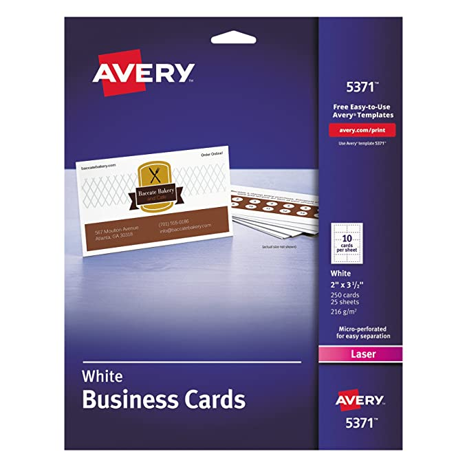 Amazon avery 5371 printable microperf business cards laser 2 amazon avery 5371 printable microperf business cards laser 2 x 3 12 white uncoated pack of 250 business card stock office products wajeb Gallery