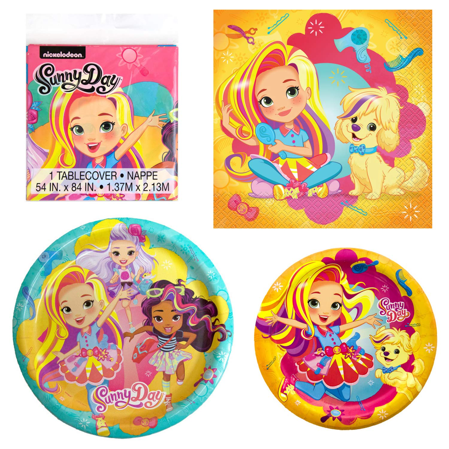 Dinner and Dessert Paper Plates Luncheon Paper Napkins and Table Cover Unique Sunny Day Birthday Party Supplies and Decorations