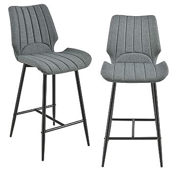 4ae81f29b735 [en.casa]®] Set de 2 Taburetes de Barra Cocina Comedor 102,5 x 46,5 x 51cm  Juego de sillas Altas de Tejido Patas de Metal Gris Oscuro: Amazon.es: Hogar