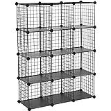 "SONGMICS Metal Wire Cube Storage,12-Cube Shelves Organizer,Stackable Storage Bins, Modular Bookcase, DIY Closet Cabinet Shelf, 36.6""L x 12.2""W x 48.4""H, Black ULPI34H"