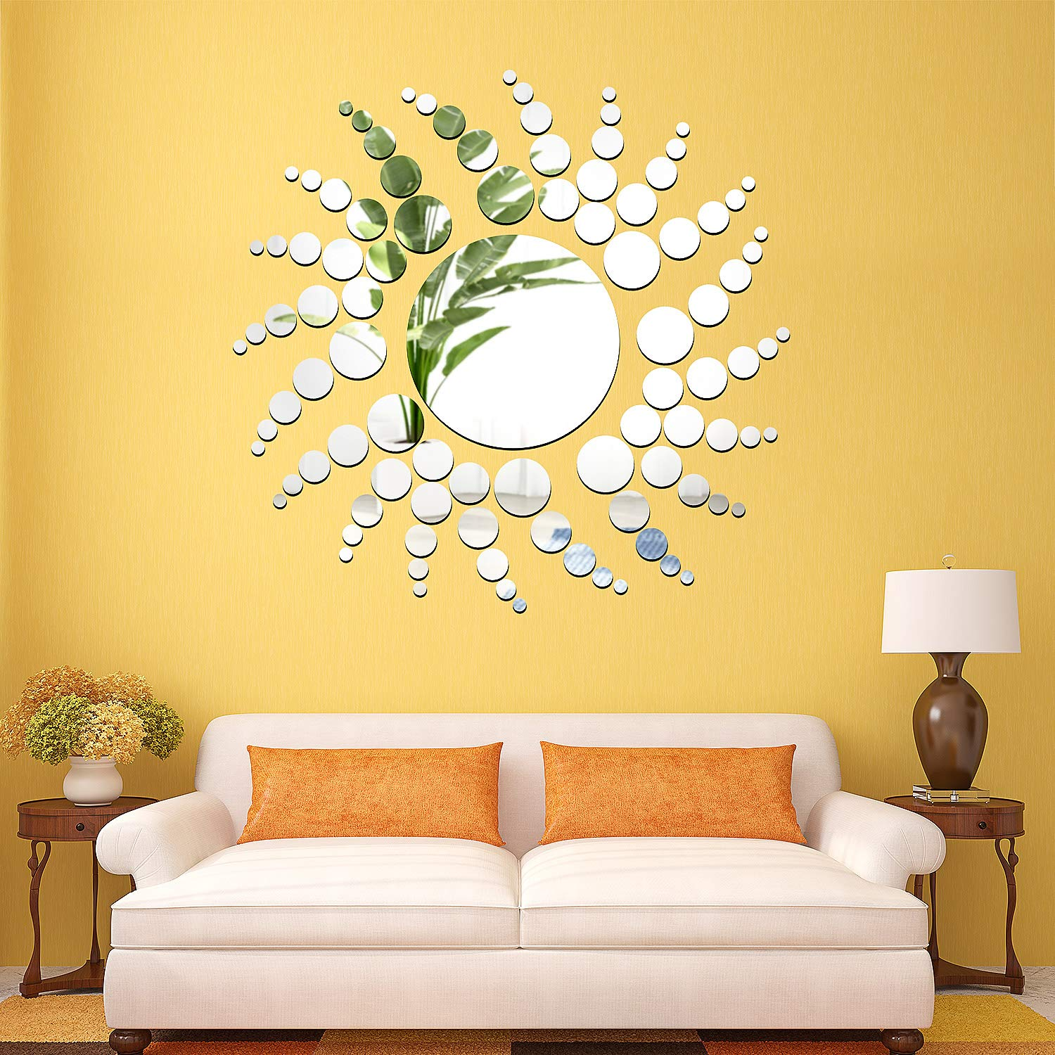Removable Acrylic Mirror Setting Wall Sticker Decal for Home Living Room Bedroom Decor (Style 9, 48 Pieces)