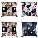 YX&ST - Juego de 4 fundas de almohada Kpop BTS Bangtan Boys para decoración del hogar, sofá, funda de cojín con cremallera, 4
