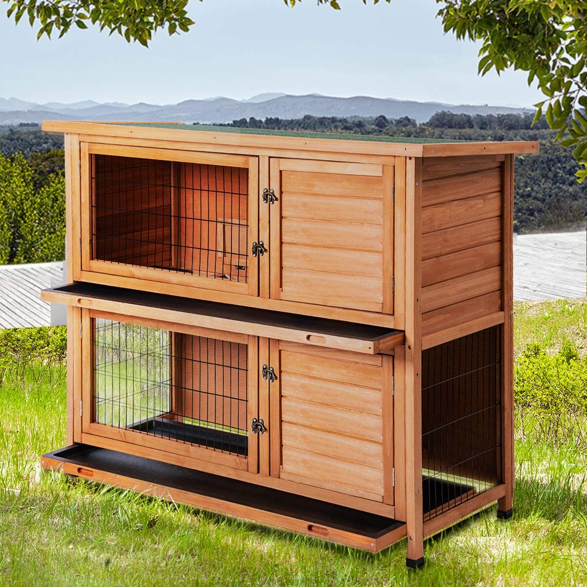Merax Rabbit Hutch Wooden House Wooden Cage for Small Animals (Rabbit Hutch#1) by Merax