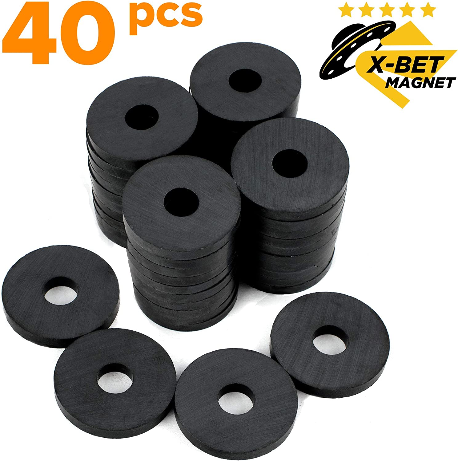 X-bet MAGNET ™ - Round Ceramic Disc Magnets with Hole - Tiny Ring Bulk Lot of 40 Pcs - 1.2 Inch (31mm) - Donut Magnets for Refrigerator Fridge, Science Projects, Crafts, Around The Office