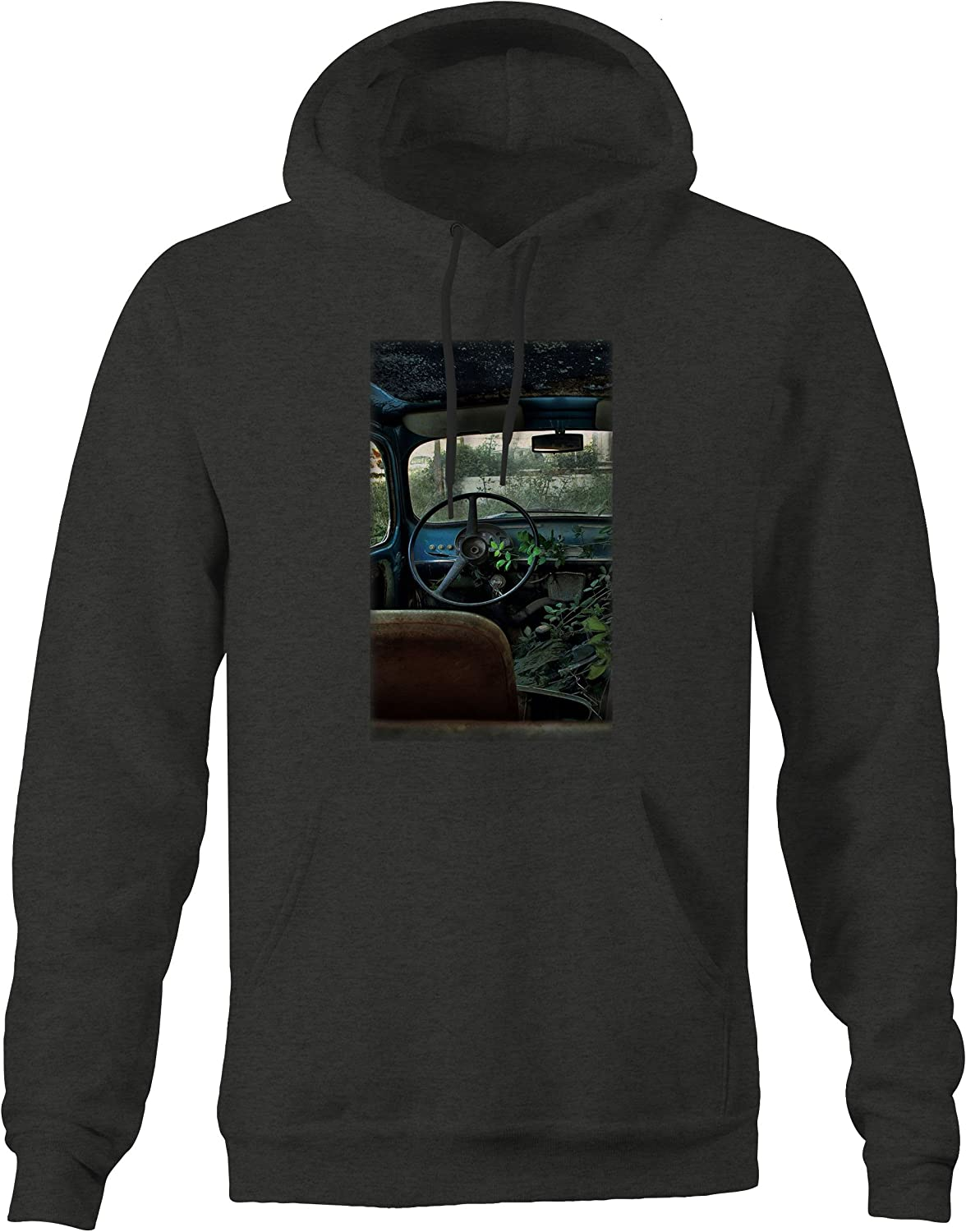 Vintage Pickup Truck Rusted Patina in Field Muscle Car Graphic Hoodie for Men