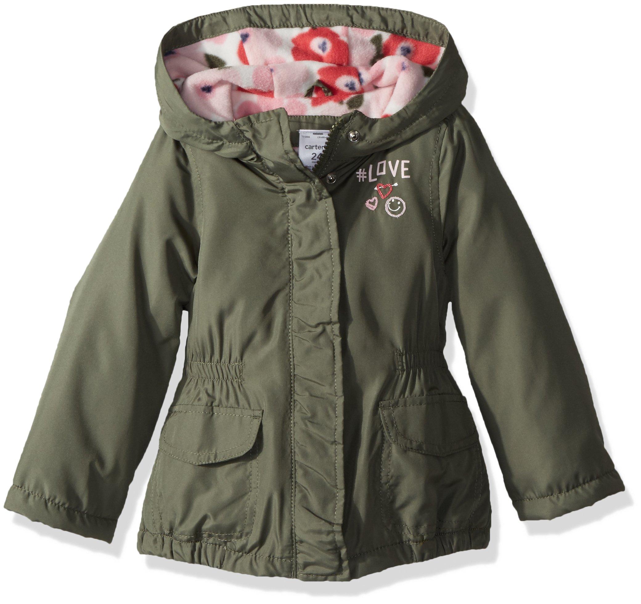 Carter's Little Girls' Fleece Lined Anorak Jacket, Olive Oak, 5/6