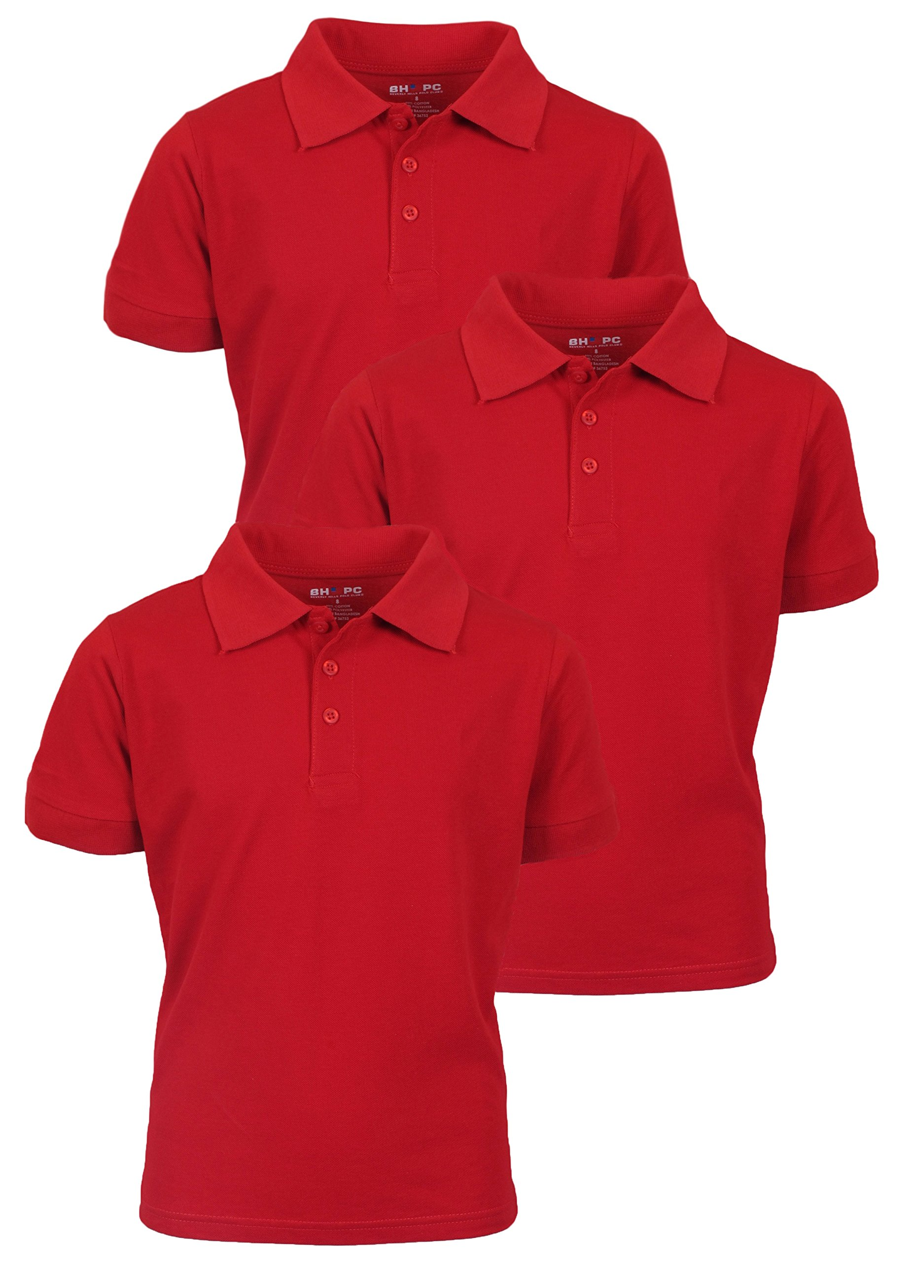 Beverly Hills Polo Club 3 Pack of Boys' Short Sleeve Pique Uniform Polo Shirts, Size 16, Red by Beverly Hills Polo Club (Image #1)