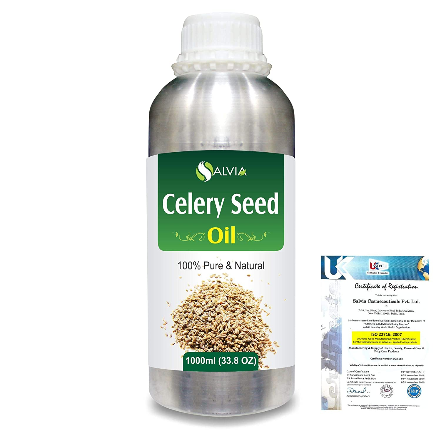 Celery Seed (Apium Graveolens) 100% Pure Natural Carrier Oil 1000ml/33.8fl.oz. B07R84JH6P