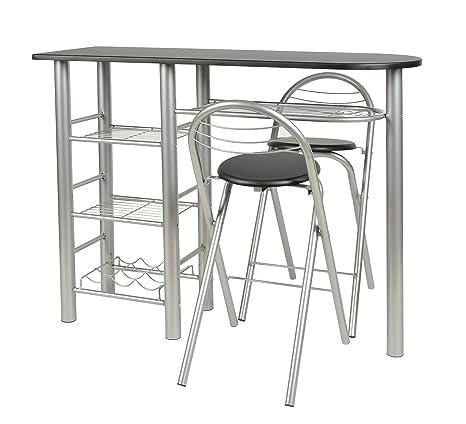 ts-ideen Set 3 pezzi Tavolo con 2 sgabelli in Alluminio e MDF color ...