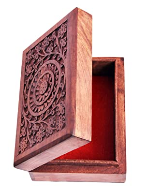 Nexplora Industries Handmade Wooden Jewellery Box Hand Carvings Gift Item
