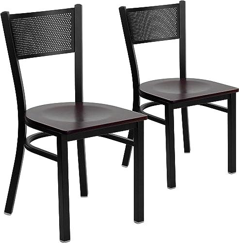 Flash Furniture 2 Pk. HERCULES Series Black Grid Back Metal Restaurant Chair