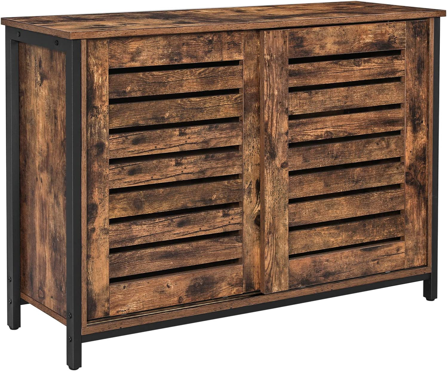VASAGLE LOWELL Sideboard, Kitchen Cabinet with Shutter Sliding Doors, Floor Storage Cupboard, Living Room, Hallway, Steel Frame, Industrial, Rustic Brown and Black ULSC081B01