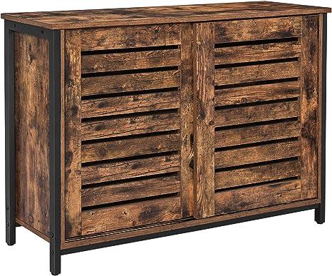 Amazon Com Vasagle Lowell Sideboard Kitchen Cabinet With Shutter Sliding Doors Floor Storage Cupboard Living Room Hallway Steel Frame Industrial Rustic Brown And Black Ulsc081b01 Buffets Sideboards