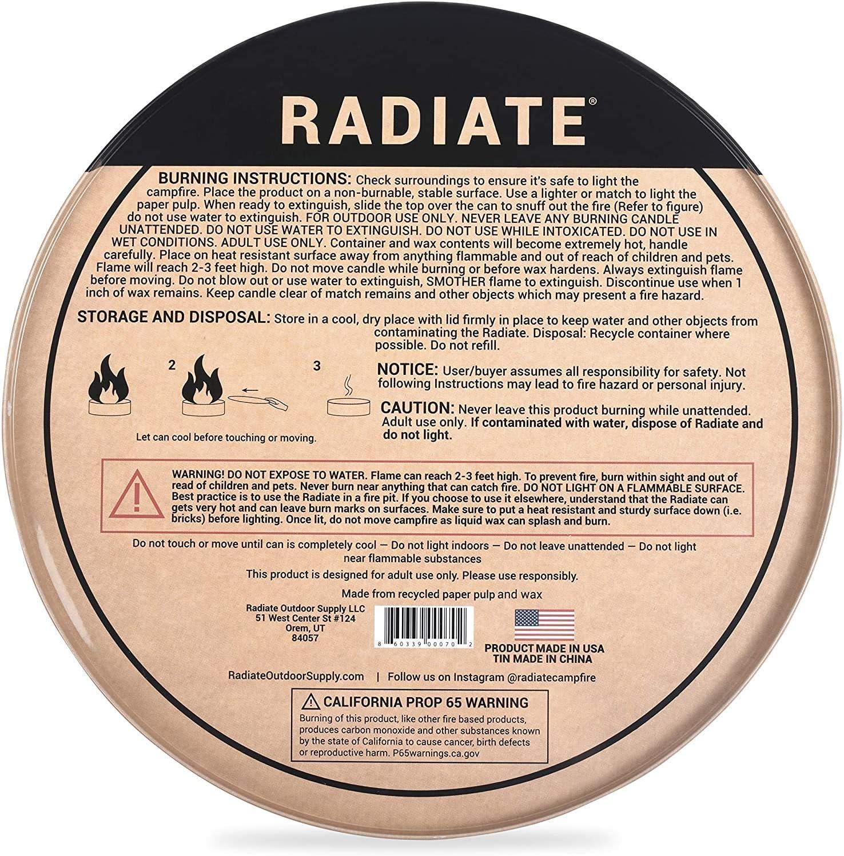 hergestellt in den USA Radiate Tragbares Lagerfeuer: Das Original Lagerfeuer keine Glut leicht und tragbar praktisch 3 kein /Ärger Original 2 St/ück 5 Stunden helle und warme Brenndauer