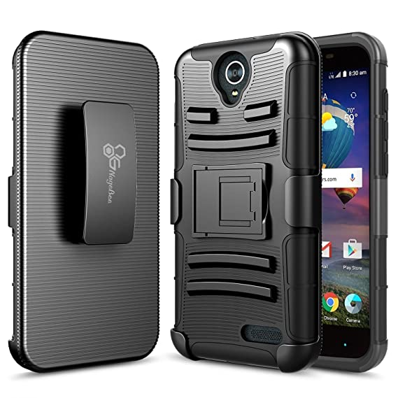 on sale 1d2f9 ede4f ZTE WARP 7 Case, ZTE Grand X3 Case,NageBee - Heavy Duty Hybrid Armor Dual  Layer Rhino Kickstand Belt Clip Holster Combo Rugged Case (Holster Black)