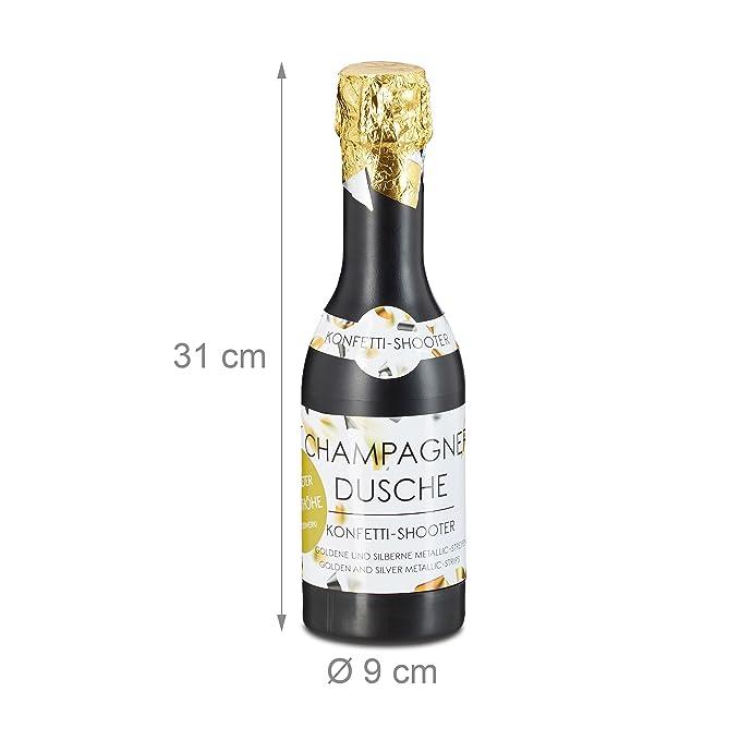 Relaxdays Cañón Confeti en Forma de Botella de Cava, Plástico, Dorado y Plateado, 31 cm: Amazon.es: Hogar