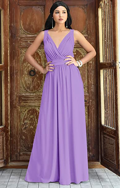 Women's Long Sleeveless Flowy Bridesmaid Cocktail Evening Gown