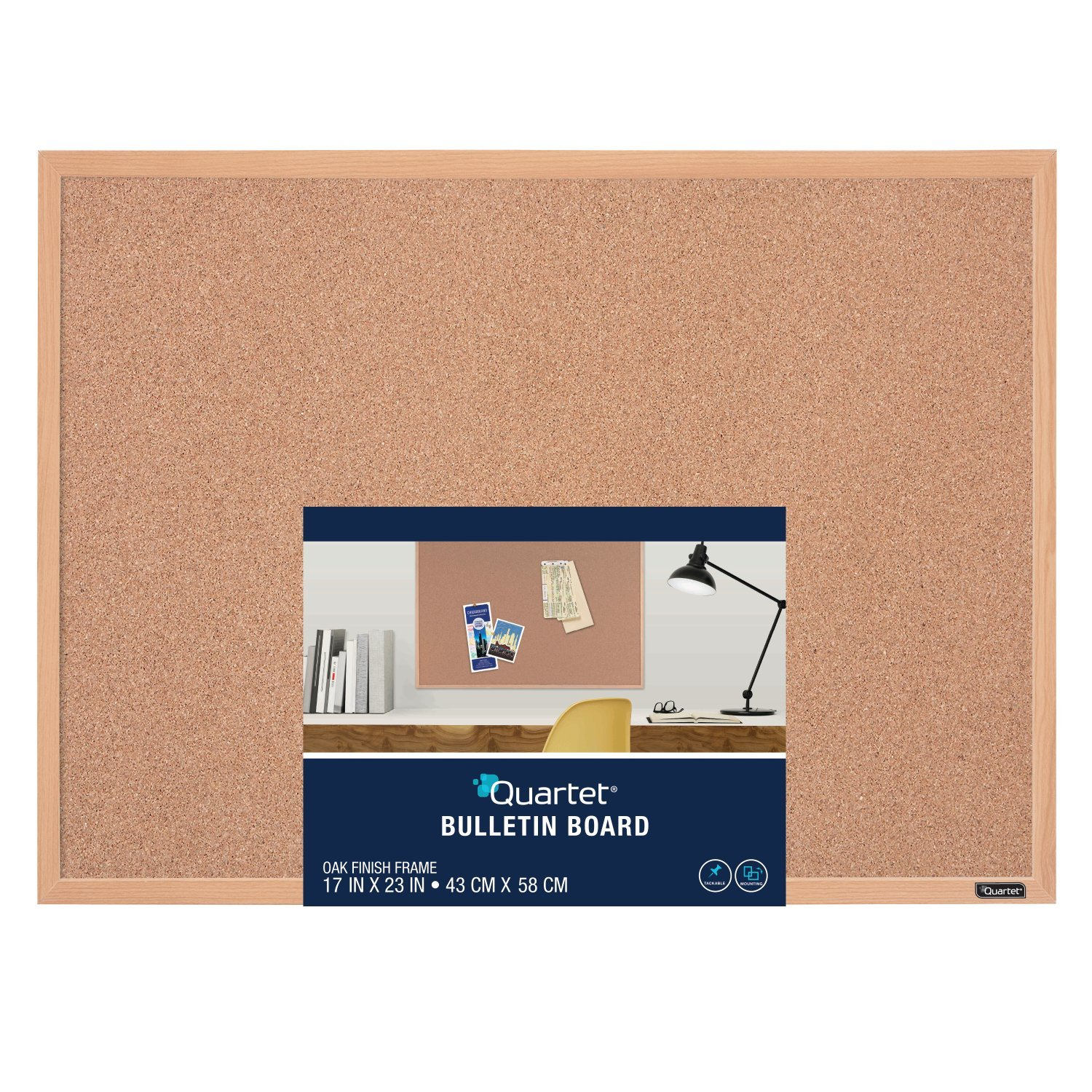 Quartet Cork Bulletin Board, 17 x 23 Inches, Oak Finish Frame (35-380342Q)