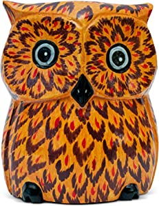 G6 Collection Unique Handmade Wooden Owl Cute Piggy Bank Hoot Coin Bank Statue Figurine Hand Carved, Money Box Savings Handcrafted Wood Decorative Keepsake Adorable Kids Room Decor Gift Owl Piggy Bank
