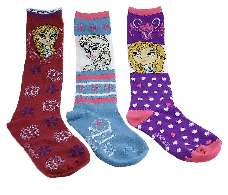 Disney Frozen Anna & Elsa Knee High Socks Size 6-8, Shoe Sz 10.5-4 - 3-pack F2250