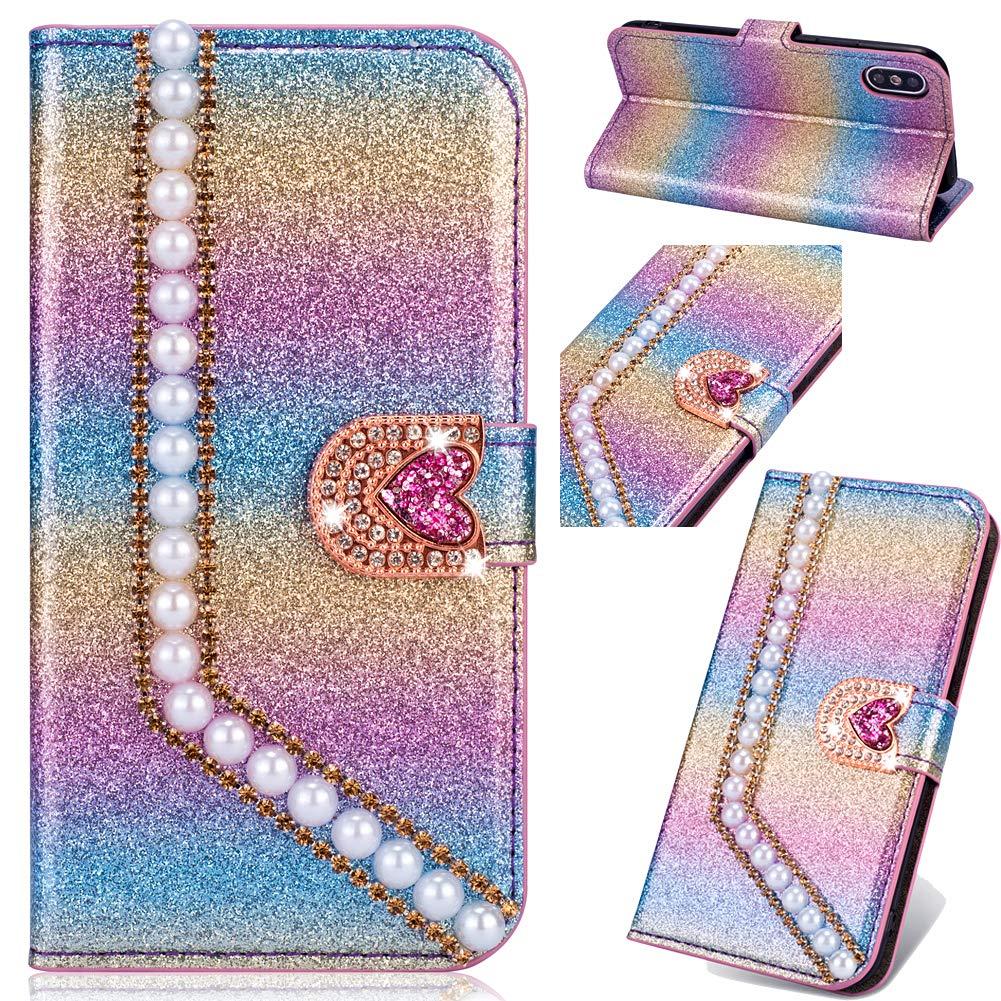 Diamant Funkeln Bling Folio f/ür Huawei Y6 2019 //Honor 8A,Glitzer BookStyle Slim Ledertasche Schutzh/ülle Flip Wallet Stand Card Slots Pocket Magnetverschluss Leder Etui Case H/ülle