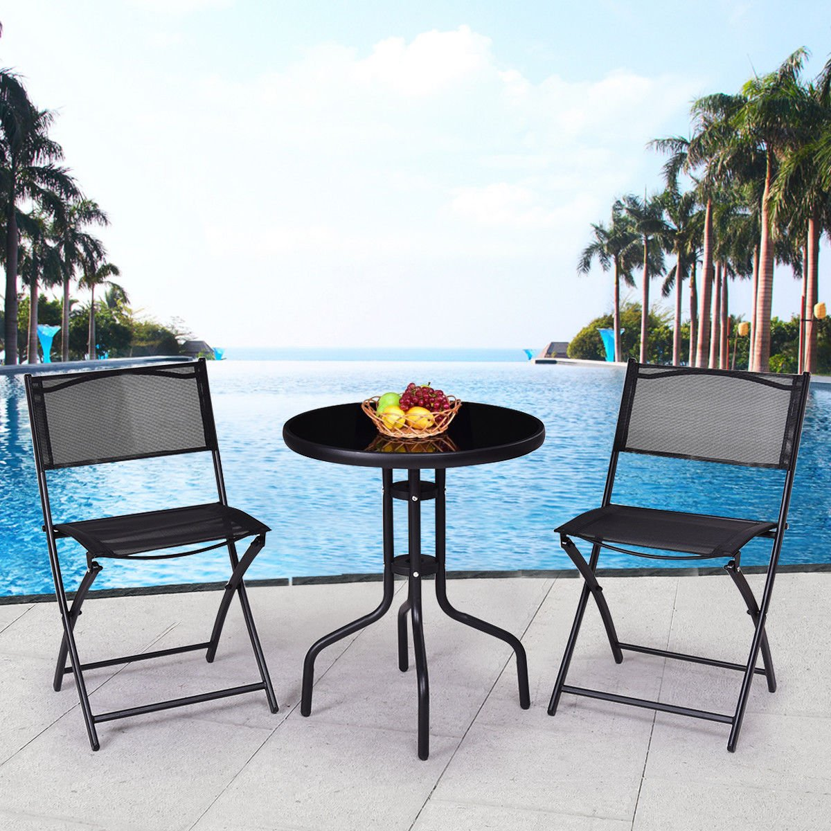 3 Pcs Bistro Set Garden Backyard Table Folding Chairs Outdoor Patio Furniture