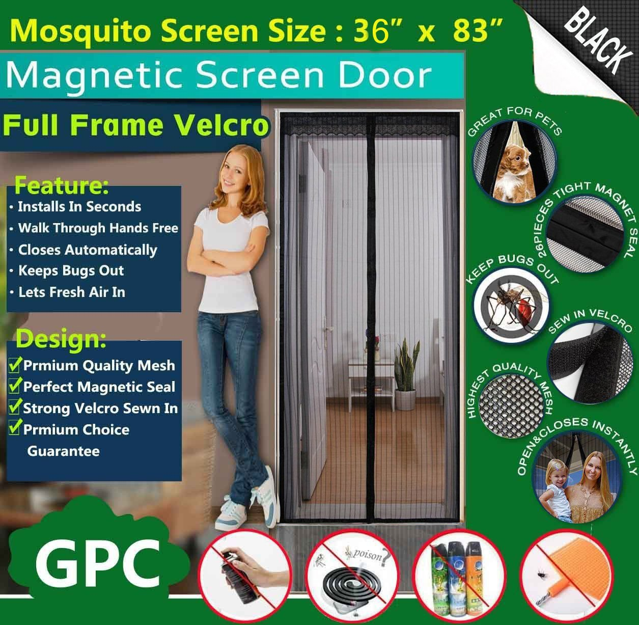 Queen rose magnetic fly screen door netautomatically shut mesh queen rose magnetic fly screen door netautomatically shut mesh curtain top to bottom with strong full frame velcrokeeps bugsmosquitoes outlets fresh air vtopaller Image collections
