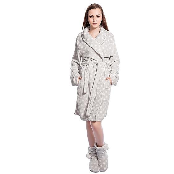 FRALOSHA Women\'s Dressing Home Fashion Bathrobe and Plush Slippers ...