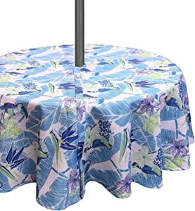 SUQ I OME Tablecloth with Umbrella Hole and Zipper, Waterproof Zippered Patio Table Cloths, Spring/Summer Table Covers for Backyard Circular Table/BBQs/Picnic (Blue Parrot,60'' Round with Zipper)
