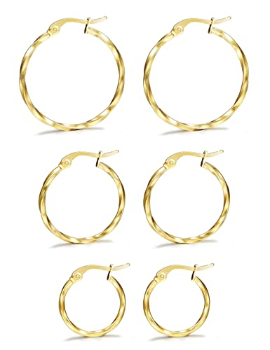 6a4a40778 LOYALLOOK 3 Pairs Stainless Steel Twisted Small Gold Tone Hoop Earrings Set  for Women 15-