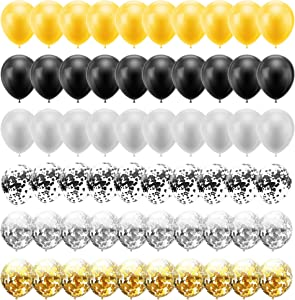 60PCS 12 Inches Latex Balloons Confetti Balloons Set - Gold & Sliver & Black Balloons Helium Balloons for Graduation Birthday Retirement New Year's Eve Party Decorations Supplies