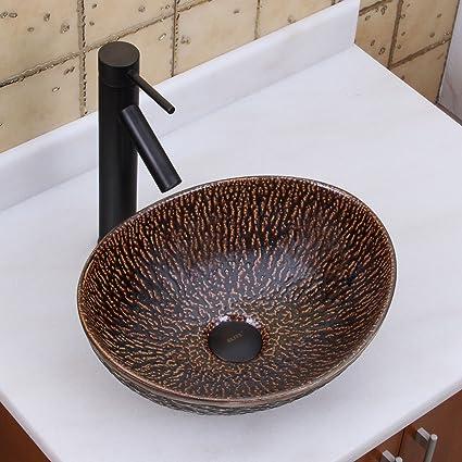 Superbe ELITE Oval Bronze Glaze Porcelain Ceramic Bathroom Vessel Sink U0026 Oil Rubbed  Bronze Finish Faucet Combo
