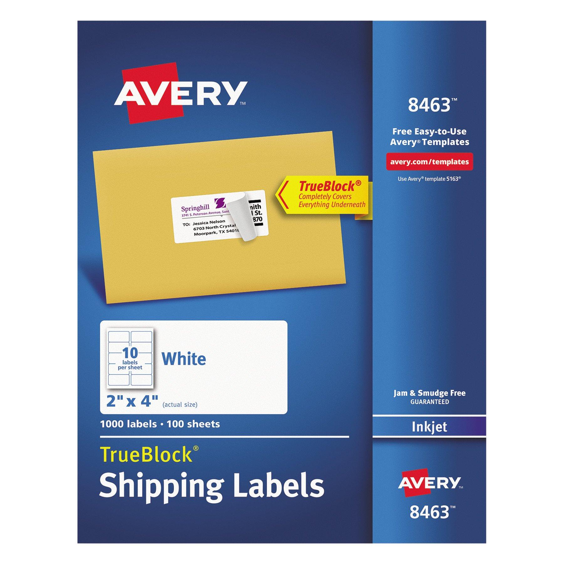 Avery Shipping Address Labels, Inkjet Printers, 1,000 Labels, 2x4 Labels, Permanent Adhesive, TrueBlock (8463)