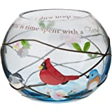 Peace, Love and Birds by Pavilion 5-Inch Round Glass Candle Holder, Friends Sentiment
