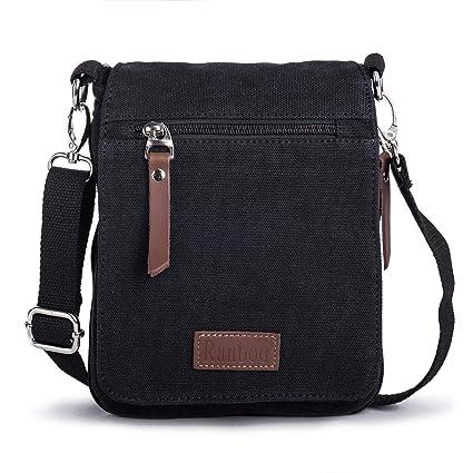 Bandolera Hombre Pequeña Bolsa de Mensajero de Lona Mini Messenger Bag Bolsos a Hombro con Mosquetón clip Bolso para iPad Mini Deporte, Trabajo, ...