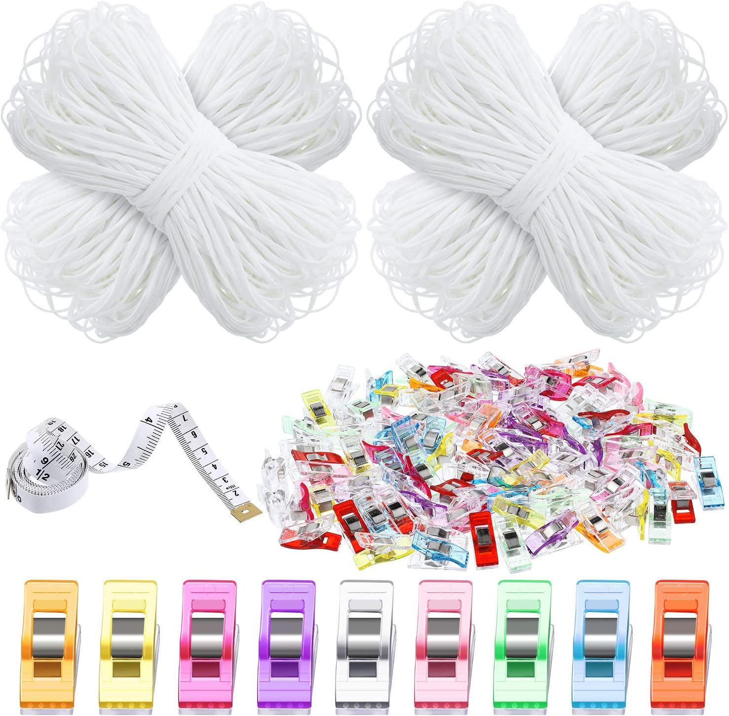 100 Pieces Multipurpose Sewing Clips Colorful Quilting Craft Clips 110 Yard 5 mm Width Flat Elastic Bands Sewing Stretch Strap Cord with 5 Feet Measuring Tape for DIY Craft Clothes Making Accessories