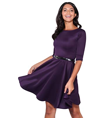 3a588f617b KRISP Womens 3 4 Sleeves Skater Fit and Flare Belted Mini Dress at ...