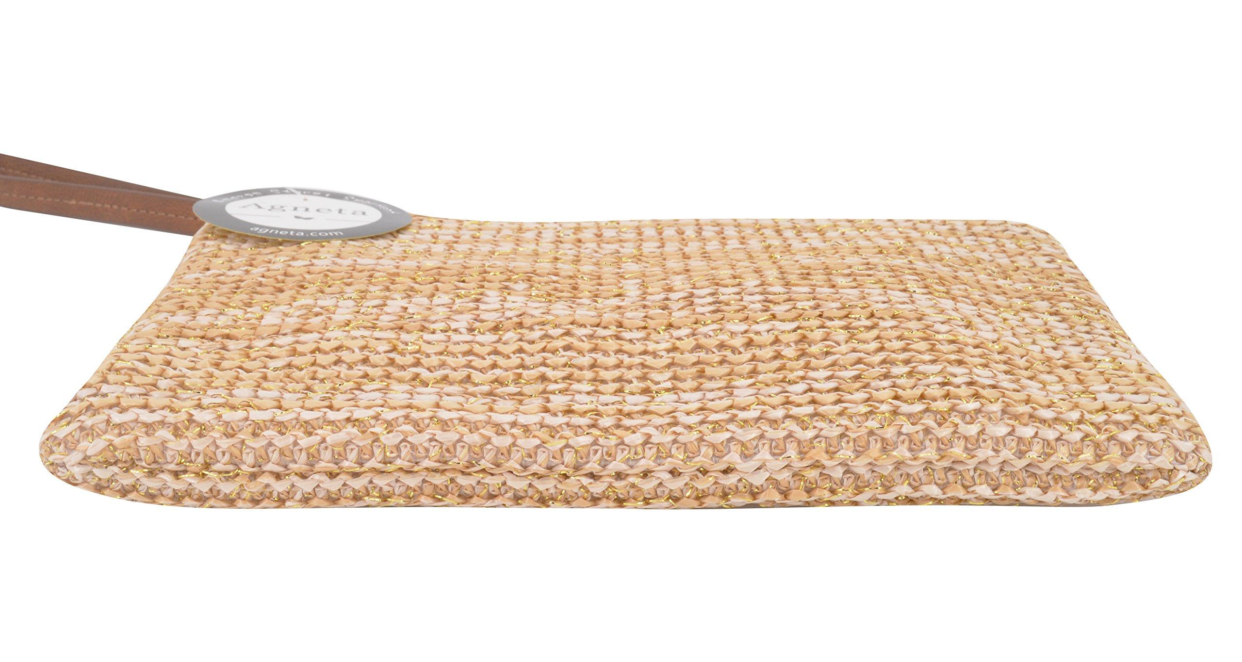 AGNETA Women's Hand Wrist Type Straw Clutch Summer Beach Sea Handbag (Brown Large) by AGNETA (Image #6)