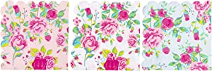 Cocktail Napkins - 150-Pack Luncheon Napkins, Disposable Paper Napkins Party Supplies, 2-Ply, Floral Design with Scalloped Edge, 3 Colors, Folded 6.2 x 6.3 inches