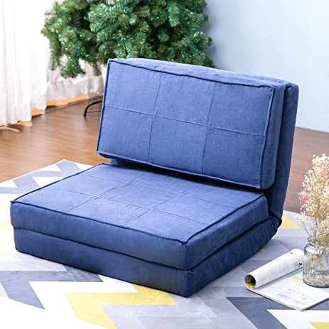 Harper U0026 Bright Designs Convertible Futon Flip Chair Sleeper Bed Couch Sofa  Seating Lounger (Blue