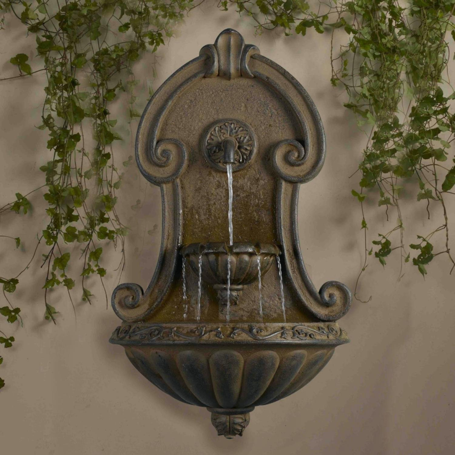 "33"" Italian Style Copper Finish Cascading Outdoor Patio Garden Wall Water Fountain by CC Outdoor Living"