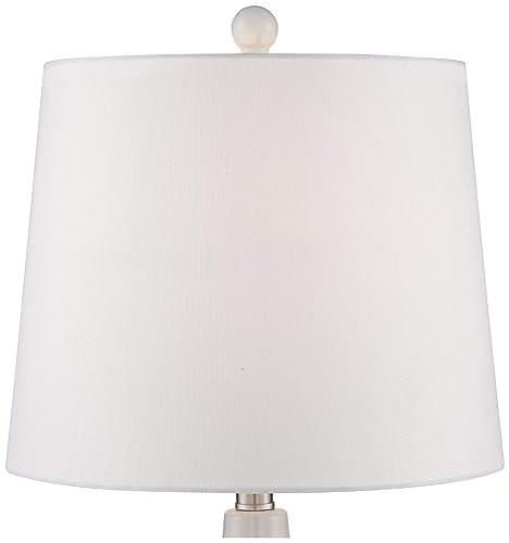 Jane Modern Table Lamps Set of 2 Ceramic White Double Gourd Drum Shade for Living Room Family Bedroom Bedside Nightstand – 360 Lighting
