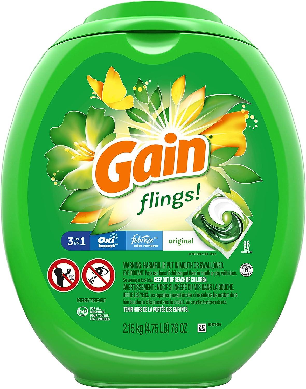 Gain flings! Liquid on-the-go Laundry Detergent Pacs