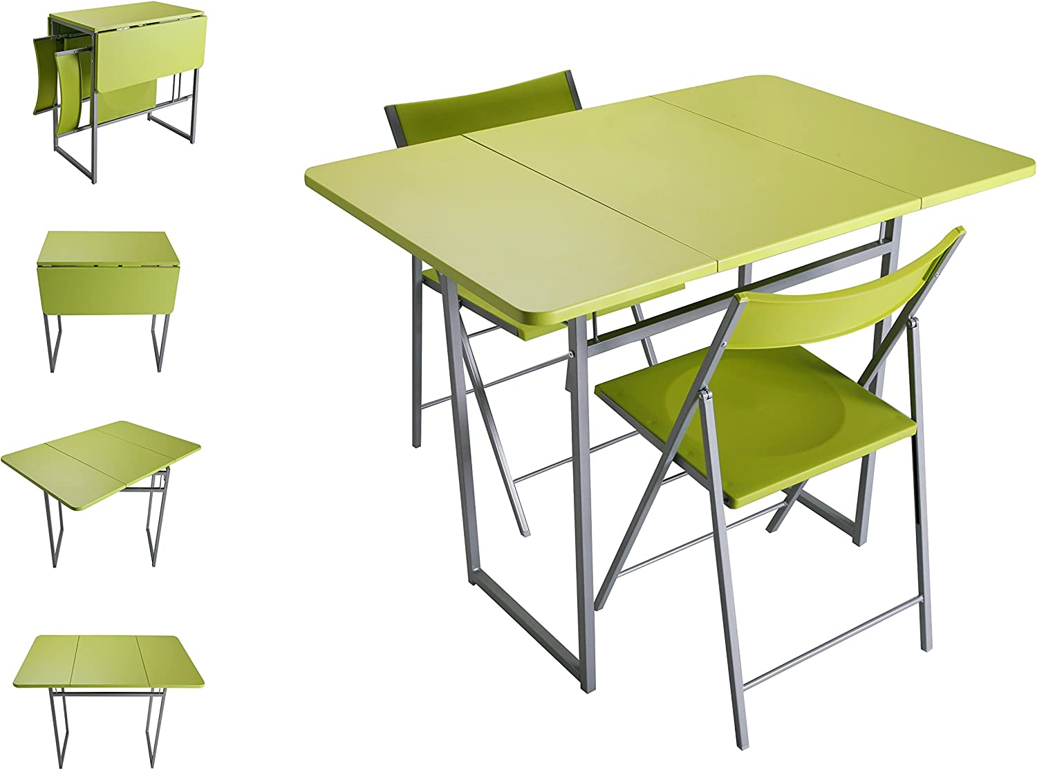 Versa - pliable table with 2 white chairs Green